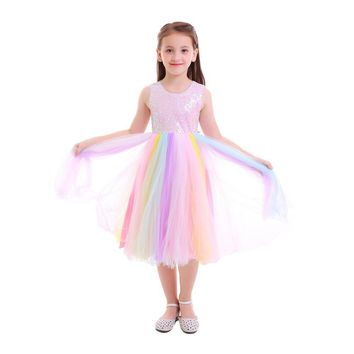 2019 Spring & Summer Rainbow Sequin TuTu Dress Pre-Order