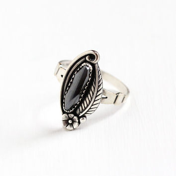 Vintage Sterling Silver Hematite Ring - Size 10 1/4 Retro Southwestern Oval Gray Gem Statement Leaf Flower Jewelry WM Co