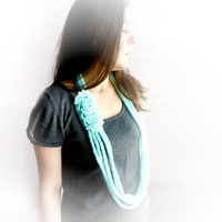 Mint chain necklace infinity scarf, neck warmer, Crochet lace loop scarf infinity, neck adornment, neck wrap