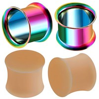 4pcs Rainbow Anodized Silicone double flared solid plug retainer Stretching Expander Tunnels Gauge Ear CFCY Pick Size