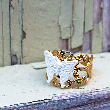 White Butterfly Ring. Adjustable Ring. Gold Tone Finished Brass Filigree Ring