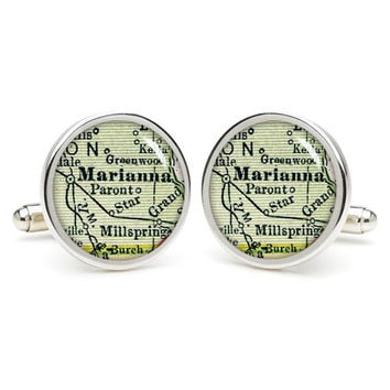 Marianna  city map cufflinks , wedding gift ideas for groom,gift for dad,great gift ideas for men,groomsmen cufflinks,
