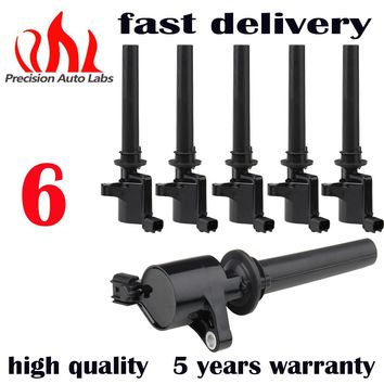 PRECISION AUTO LABS Ignition Coil Set of 6pcs Coils for Ford Freestyle Mercury Mazda 3.0L  V6  DG500