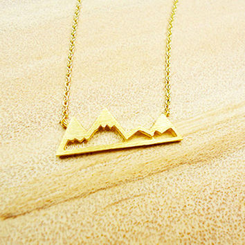 Mountain Necklace, Snowy Mountain Necklace, nature Necklace, Jewelry, women's necklace, pendant
