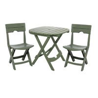 3-Piece Fast Fold Outdoor Furniture Bistro Set in Sage Green