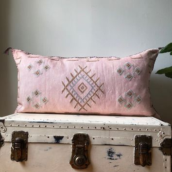 KING SIZE WASHED PINK CACTUS SILK PILLOW COVER