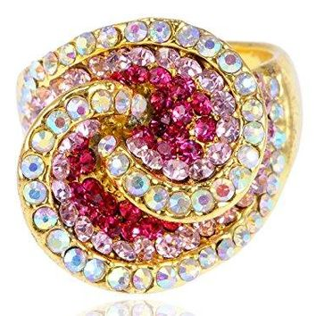 Alilang Womens Yellow Golden Tone Pink Rhinestones Abstract Shell Swirl Ring