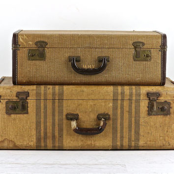 Suitcase, Stack Of Two Suitcases XL, Old Suitcase Stack, Vintage Suitcase, Stacked Suitcases, Luggage