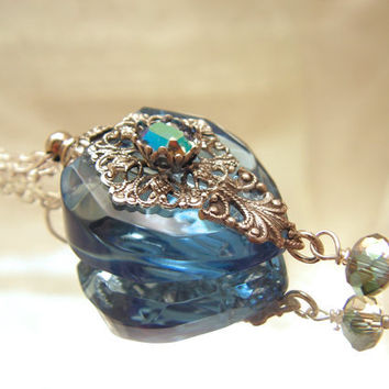 Vintage Inspired Blue Heart Perfume Bottle Necklace by rtistmary
