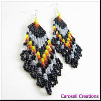 Native American Beaded Earrings Gray Sunset Beadwork