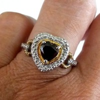 Vtg Signed RSE 925 Garnet Heart 1 Diamond Chip Ring Size 8.25 2 Tone 3.2(gr)
