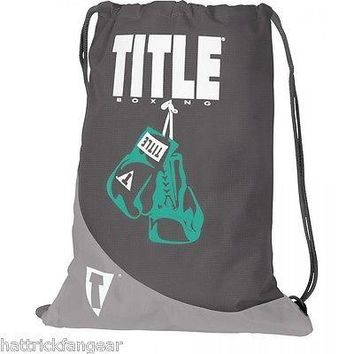 TITLE BOXING HEAVY DUTY REINFORCED DRAW STRING BACK SACK - GRAY/WHITE/TEAL
