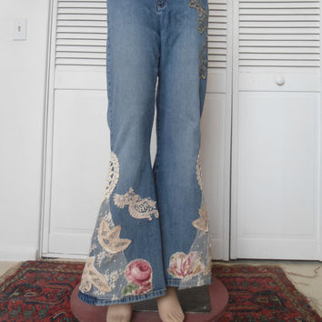 Size 10/12 Womens Elephant Bellbottom Upcycled Stretch Lace Jeans hippie soul boho gypsy cowgirl glam style clothes bell bottoms redesigned