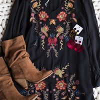 Iris Embroidered Dress, Black