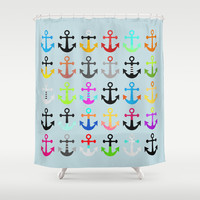 Anchors / Light background Shower Curtain by Elisabeth Fredriksson