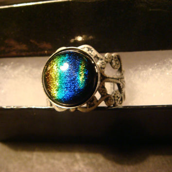 Antique Silver Ox Dichroic Glass Galaxy Ring  - Adjustable (1053)