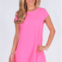 Eleacie Crepe Chiffon Fabric Swing Dress In Neon Pink
