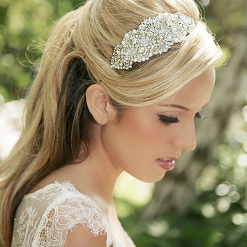 Pearl and Crystal Bridal Headpiece, Rhinestone Hair Comb, Pearl, Crystal Bridal Hair Accesories, Silver Wedding Hair Piece - Style 309