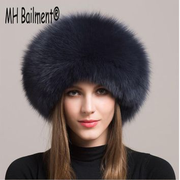 80eca70bd4a28 Women Real Fox Fur Hat Winter Warm Thick Fur Cap Genuine Natural
