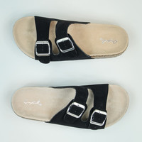 Faux Suede Sandals in Black