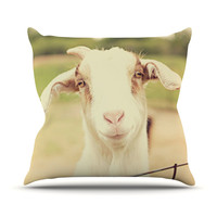 "Angie Turner ""Happy Goat"" Smiling Animal Outdoor Throw Pillow"