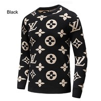 LV Louis Vuitton 2018 autumn and winter new classic logo jacquard letter set long-sleeved sweater black