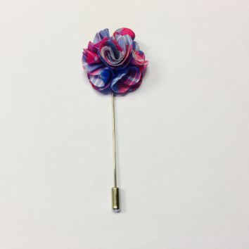 Blue and Pink Lapel Pin Boutonniere