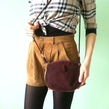 70s Small Burgundy Bag, Bohemian Suede Leather Pouch, Gypsy Medicine Pouch, Soft Mini Mesh Bag, Tribal Brown Mnimalist Bag, Hippie Purse