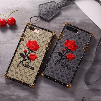 European and American popular logo embroidery mobile phone shell is suitable for iphone7/7plus 8 apple 6S luxurious atmosphere hanging line female.