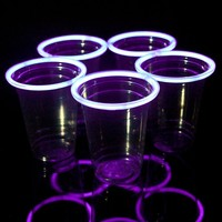 24 Purple Glow Stick Party Cups, 16-18 oz.