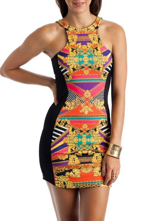 baroque-striped-bodycon-dress PURPLEORG - GoJane.com