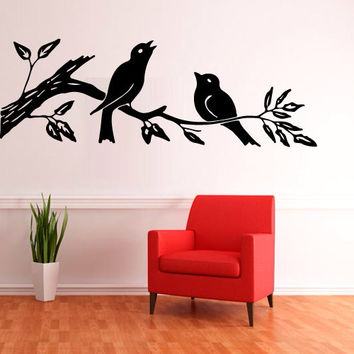 Wall Decal Vinyl Sticker Decals Art Decor Design Corner Leaves Bird Plants Flower Branch Trees foliage Dorm Bedroom House (m1266)