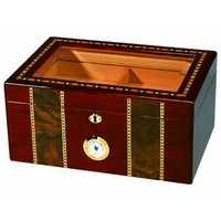 Elaborate 100 Cigar Tempered Beveled Glass Top Humidor in Cherry