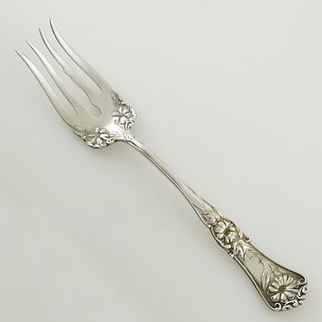 Antique 1906 Silver Plate Wm. Rogers Floral Vine Gloria Glenoble Serving Meat Fork