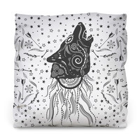 Ornamental Wolf Outdoor Throw Pillow