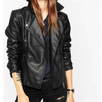 New Fashion Street Women's Short Washed PU Leather Jacket Zipper Bright Colors New Ladies Basic Jackets Good Quality