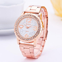 Rhinestone Bling Bling Rose Gold-Tone Plated Classic Round CZ Watch