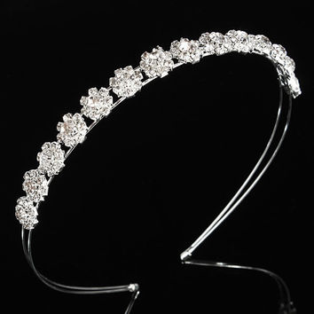 Sliver Wedding Bridal Prom Crystal Rhinestone Diamante Crown Tiara Headband