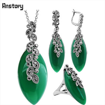 Anstory Leaf Resin Rhinestone  Jewelry Set Necklace Earrings Rings Plant Pendant Antique Silver Plated Wedding Party Gift TS341