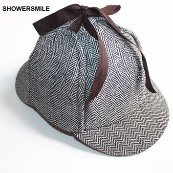 SHOWERSMILE Brand Sherlock Holmes Detective Hat Unisex Cosplay Accessories Men Women Child Two Brims Baseball Cap Deerstalker