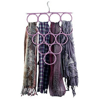 Scarf Hanger Holder Organizer - Travel Tie Rack - Closet Space Saver - Hook or Wall Mount for College Dorm Room Accessories - 14 Snag Free Rings/Loops - Care-free Storage for Shawls Pashminas Winter and Infinity Scarves