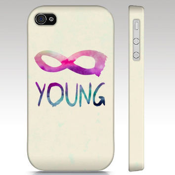 iPhone case, iPhone 4 case, iPhone 5 case, forever young, infinity hipster, typography art for your phone