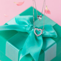 925 sterling silver double lines heart and zircon necklace D2733 -0415 -Gifts box