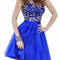 Queenworld A-line Prom Dresses for 2015 Short Lace Tulle Homecoming Gown