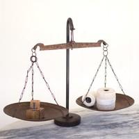 Antique Metal Scale w/weighted Iron Base