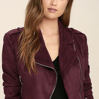 Tree-Lined Road Burgundy Suede Moto Jacket