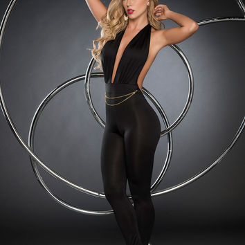 Halter Top Retro Jumpsuit-Clubwear Clothing