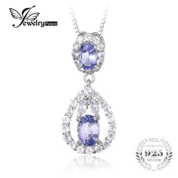 JewelryPalace Solid 925 Sterling Silver 2.2ct Natural Tanzanite White Topaz Pendant Necklace Fine Jewelry for Women