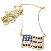 Avon Rhinestone American Flag Necklace Gold Tone 18 Inches Patriotic Vintage Costume Jewelry Choker Fourth of July Red White Blue Theme