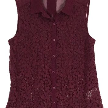 Kimchi Blue Lace Button Burgundy Sheer Sleeveless Floral Blouse Shirt Womens XS - Preowned